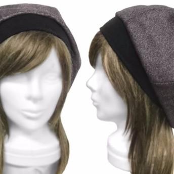 イングランド ウールツイード/リブ付ベレー帽(ゆったり)◆チャコール