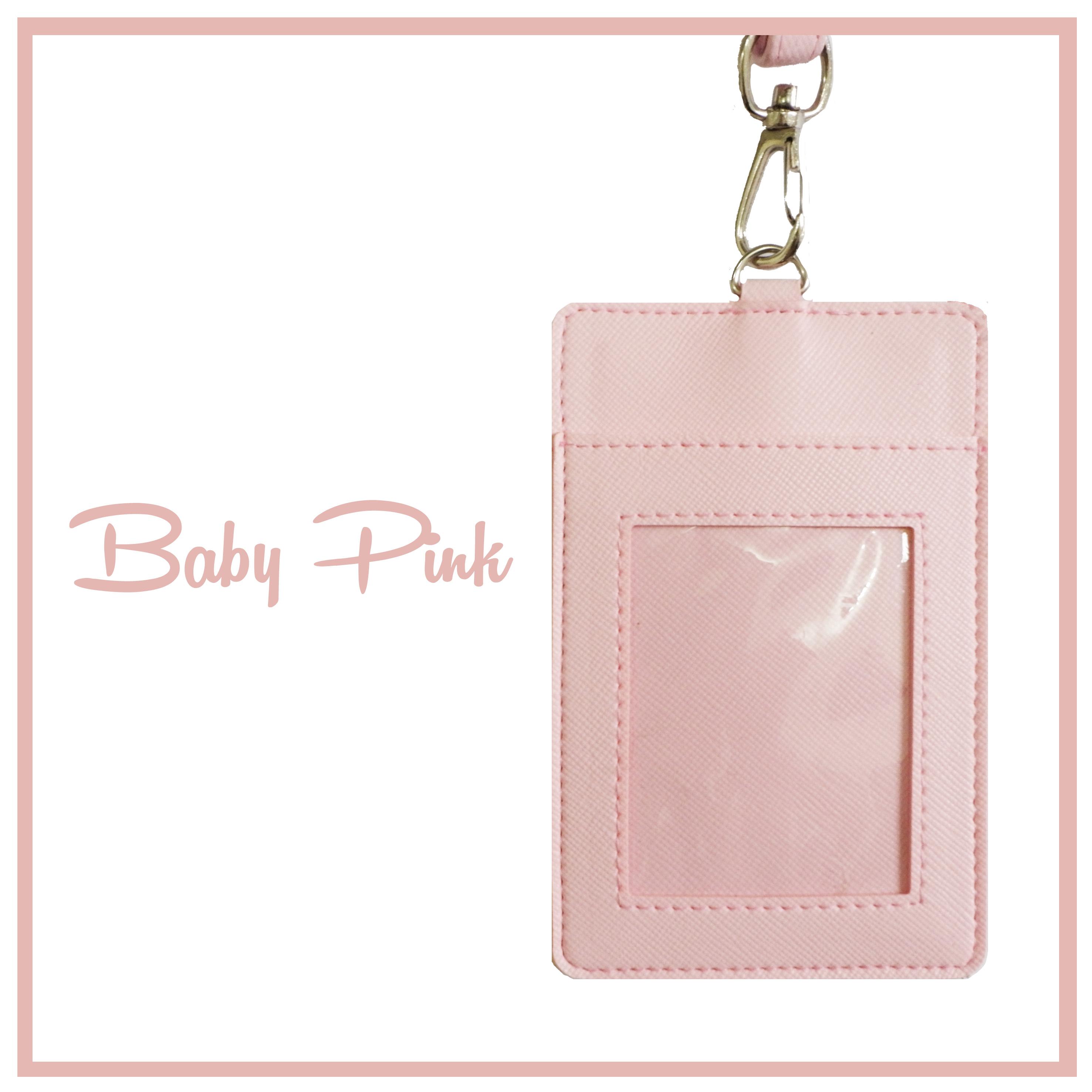 Foodandstuff Shop Line Kantong Mika Custom Baby Pink Gantungan Tempat Sarung Kalung Kartu Id Card Name Tag Nama Holder Kulit