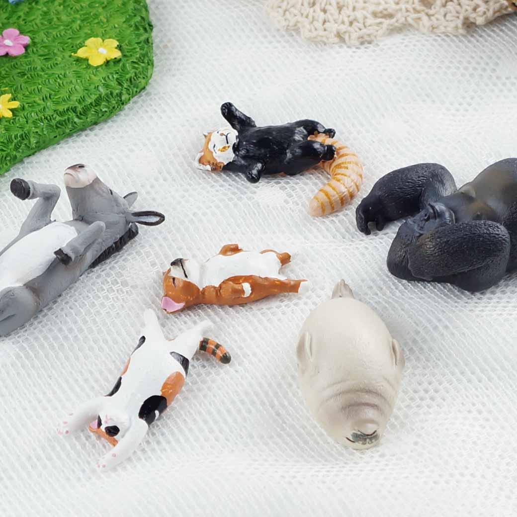 【Caldo卡朵生活】睡到翻肚療癒天然呆動物扭蛋擺飾(一套6個)