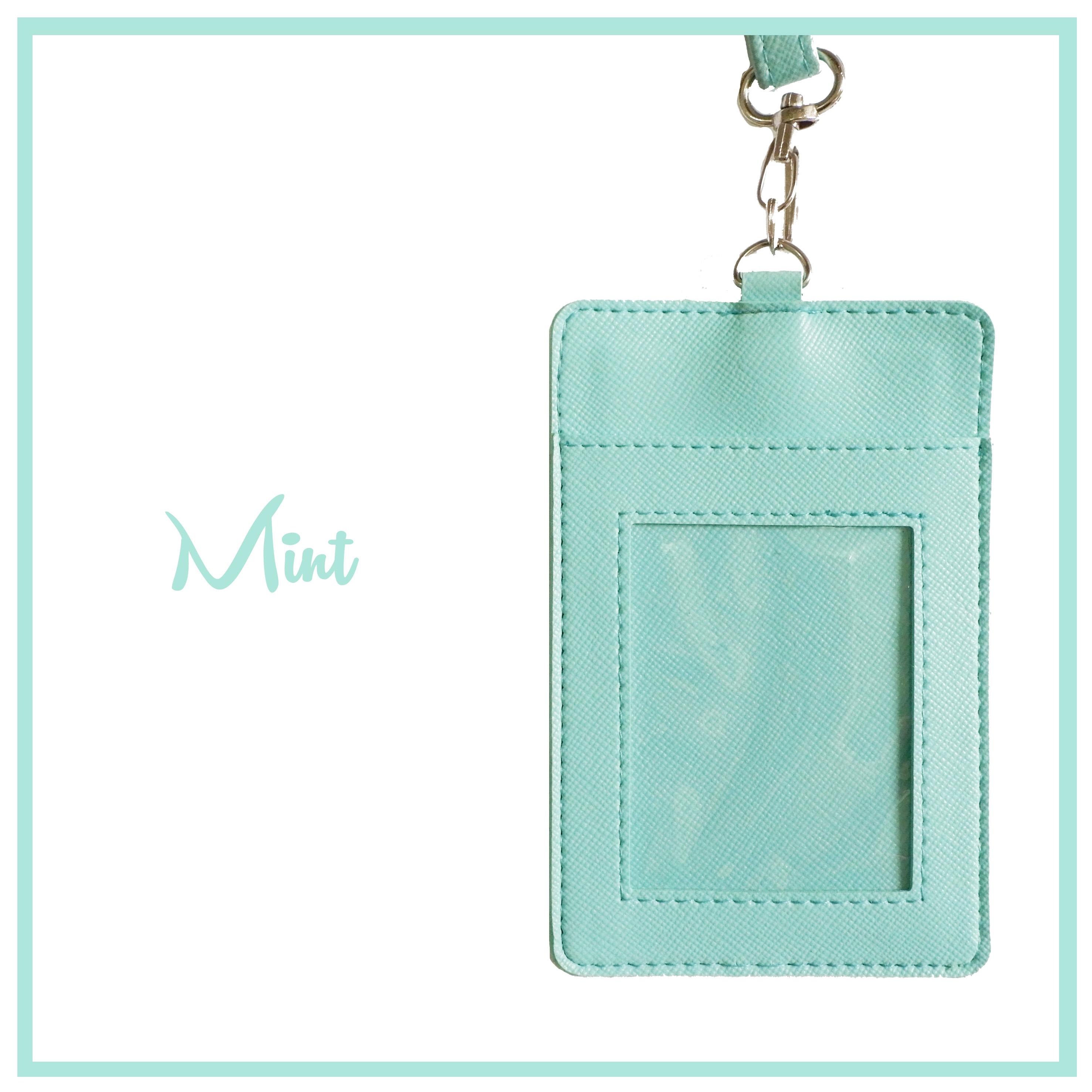 Foodandstuff Shop Line Kantong Mika Custom Mint Gantungan Tempat Sarung Kalung Kartu Id Card Name Tag Nama Holder Kulit