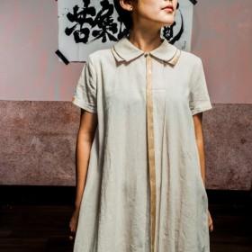 ダブルネックドレスラミー100%麻DRESS ONE PIECE_BD008