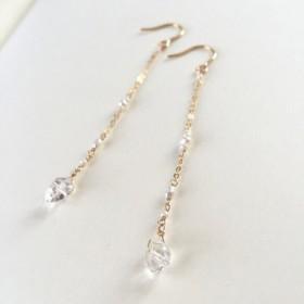 【再再販】 ハーキマーダイヤモンド パールのロングピアス k14gf NaOno