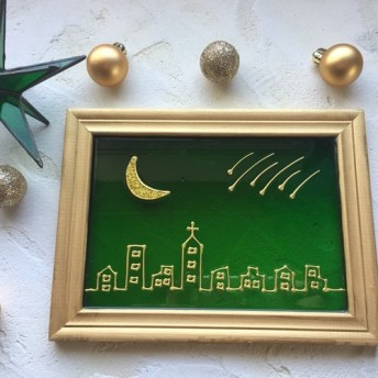 AMAM グラスアート [夜空と月と流星] グリーン