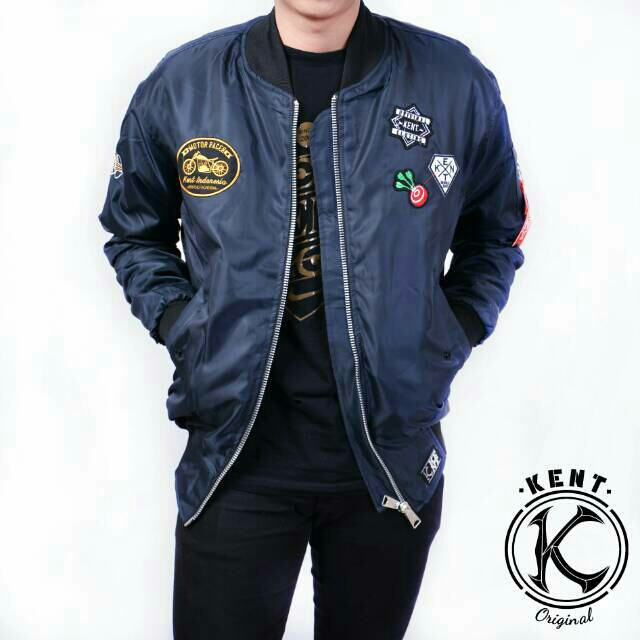 KENT - Jaket Bomber FULL PATCH NAVY