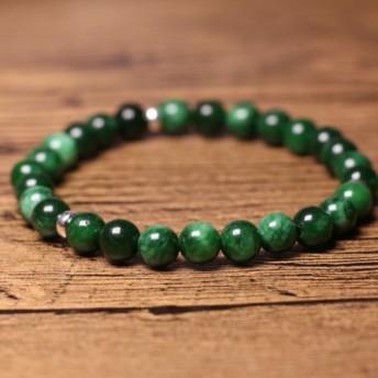 [ドライグリーン 緑の翡翠 シルバー]天然石ブレスレット純銀製のブレスレット