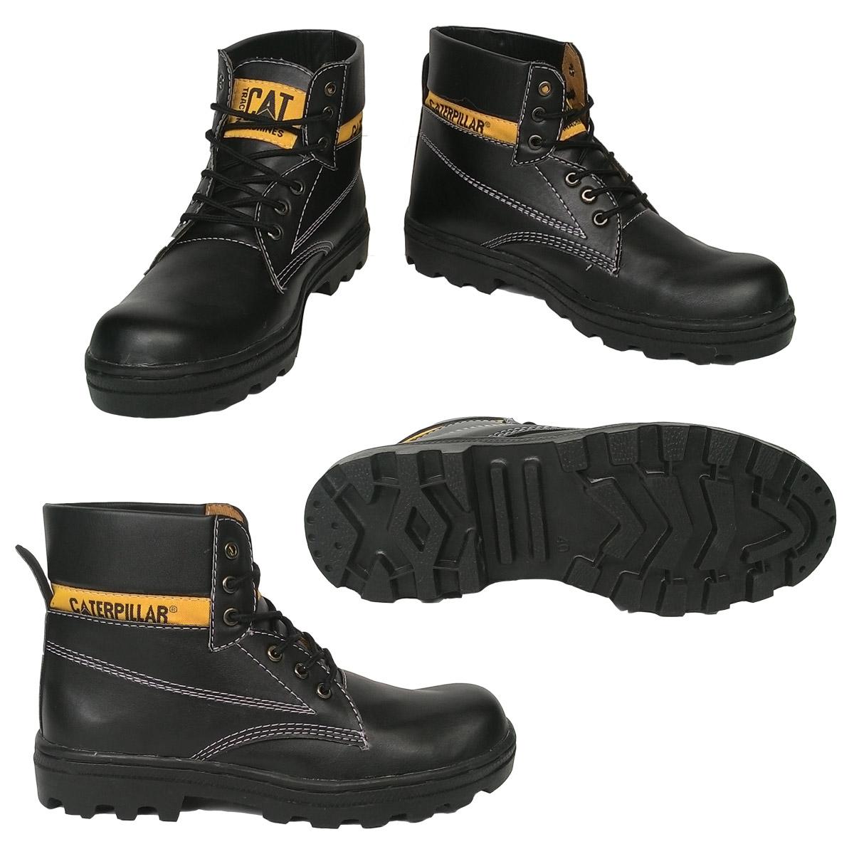 p9-55| Sepatu Pria Boots Safety Caterpillar Bahan Hitam Licin