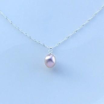 silver925 淡水真珠パールオーロラピンクの セミロングネックレス【淡水真珠Lサイズ】