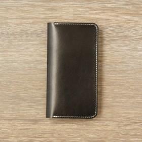 牛革 iPhoneXS/Xカバー ヌメ革 レザーケース 手帳型 ブラックカラー
