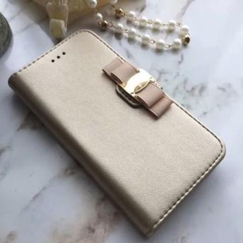 iPhone各種対応/ シャンパンゴールド リボン手帳型ケース スマホケース