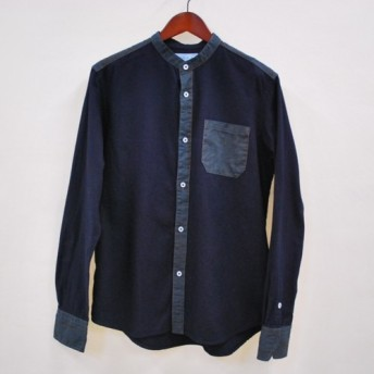M鉄紺染め×有松絞り 微起毛バンドカラー シャツ 日本製