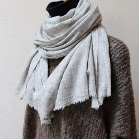 手織り カシミアショール シングル ライトグレー