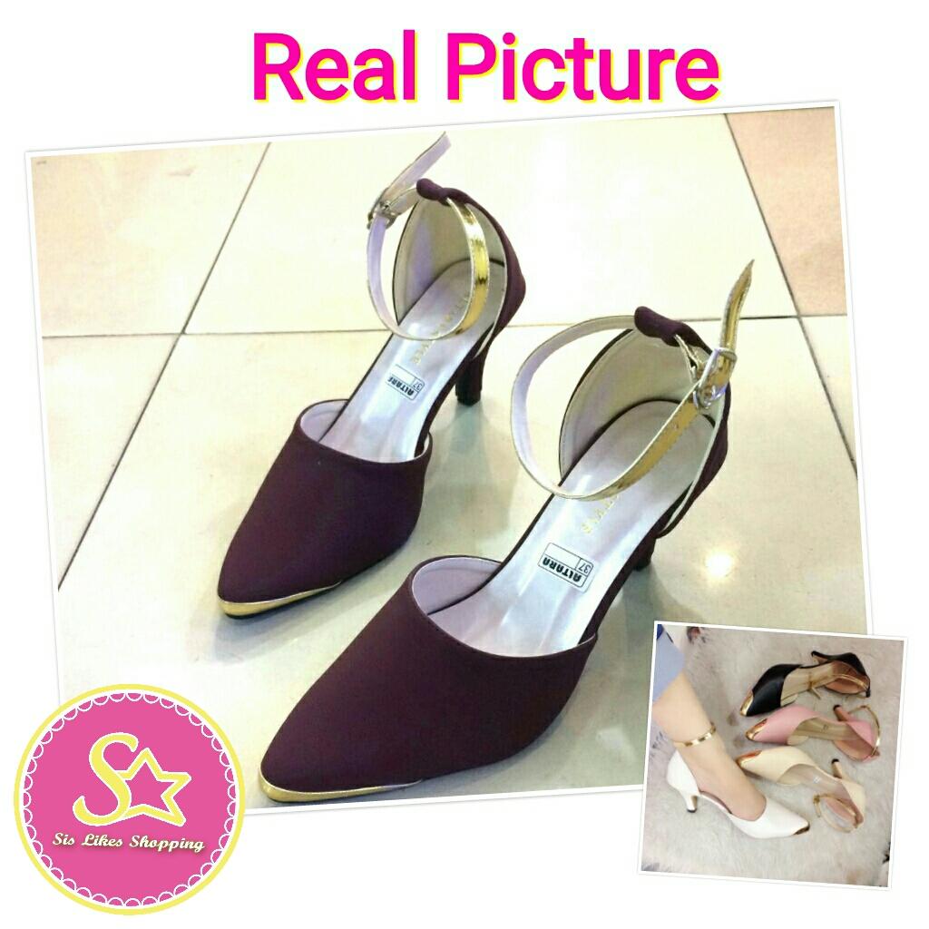 Sis Likes Shopping Shop Line Sepatu Wanita Flat Karet Suede Hak Cewek Cewe High Heels Heel 5cm 5 Cm Bludru Merah Maroon Gelang Emas Pesta