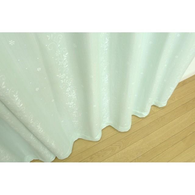 コーティングドレープカーテン「ティアラ」グリーン 幅150×丈178cm(1枚入り) 厚地カーテン ベージュ系