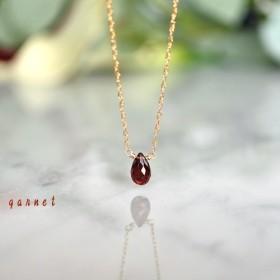 一途な愛☆宝石質モザンビークガーネットの一粒ネックレス☆14KGF