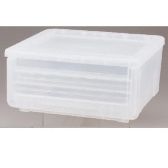 【HOME COORDY】引出し式収納ボックス クリア 約幅45x奥行40x高さ22cm 衣類ケース・プラチェスト