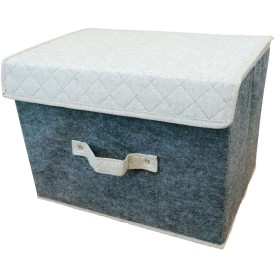 HOME COORDY フェルト収納ボックスふた付きナチュラル×グレー ホームコーディ ヨコ 収納・整理用品
