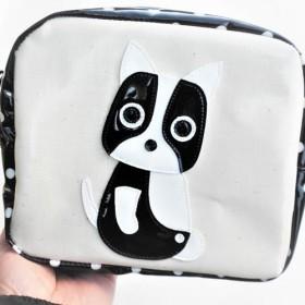 ポーチ 小物入れ 大き目 犬柄 フレンチブルドッグ 化粧 トラベル ブラック 水玉 ドット柄 ビニール