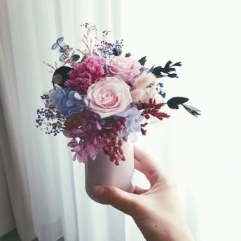 PlantSense母の日限定版 - パープルスウィートピンクローズ/カーネーション/アジサイ永遠の花は枯れない+ピンクの磁器の