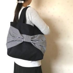 ビックリボントートバッグ ☆ ダークネイビー たっぷり大きめサイズ
