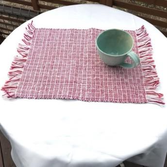 機織りランチョンマット♪柄赤白