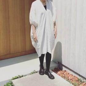 受注品★四角リネンワンピースパフ袖薄手艶リネン