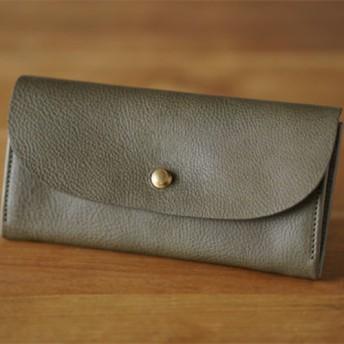 【 受注製作 送料無料 】一枚革で仕立てた長財布 グリージオグレー Creema限定 お財布 イタリアンレザー