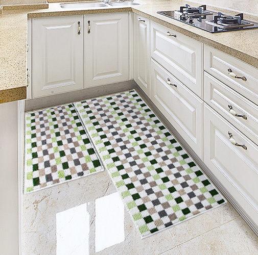 時尚創意地墊15 廚房浴室衛生間臥室床邊門廳 吸水長條防滑地毯(一大+一小 2件裝)