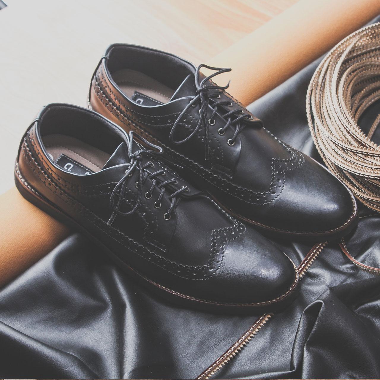 Sepatu Kasual Formal Pria Kulit Asli Toods Longwing Black Daftar Footwear Sepatulokalid X Giant Flames