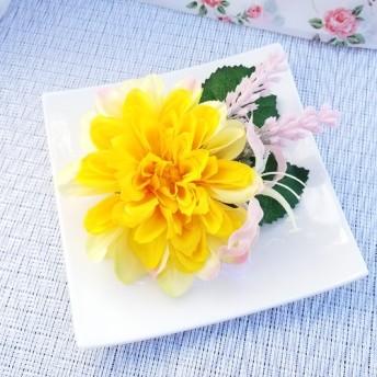黄色いお花の髪飾り☆ヘアクリップ
