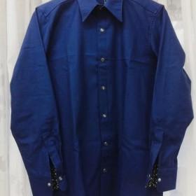 【ハンドメイドシャツ】メンズシャツ ツイルコットン ネイビーブルー Mサイズ 花柄 スナップボタン