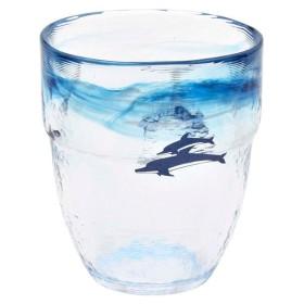 上越クリスタル硝子:月夜野工房 焼酎グラス イルカ HG-328