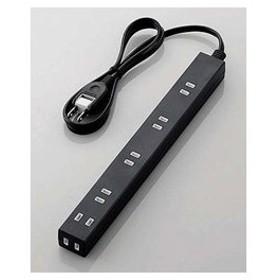 エレコム ほこり防止シャッター付きスリム電源タップ(幅広・2ピン式・6個口・ブラック・1.0m) T-NSL-2610BK