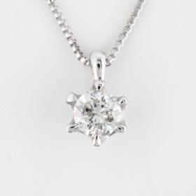 K18WG ダイヤモンドネックレス 6本爪 一粒ダイヤ 0.1ct(ジュエリーケース付き)