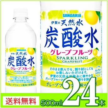 炭酸水 スパークリング サンガリア伊賀の炭酸水グレープフルーツ500mlPET24本 送料無料