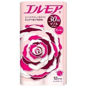 エルモア トイレットロール 花の香り ピンクダブル 2枚重ね30m ( 12ロール )/ エルモア