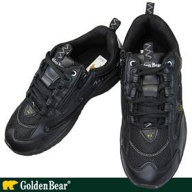 Golden Bear ゴールデンベア GB-007 ブラック メンズスニーカー カジュアルシューズ ファスナー付き 幅広 ワイド