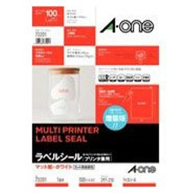 A-one 73201 (マット紙/ホワイト/A4判/1面/ノーカット/はがしやすい加工付)