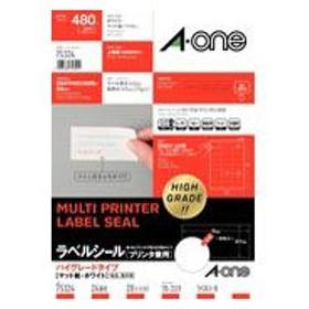 A-one 75324 (ハイグレードタイプ/マット紙/ホワイト/A4判/24面/上下余白付)