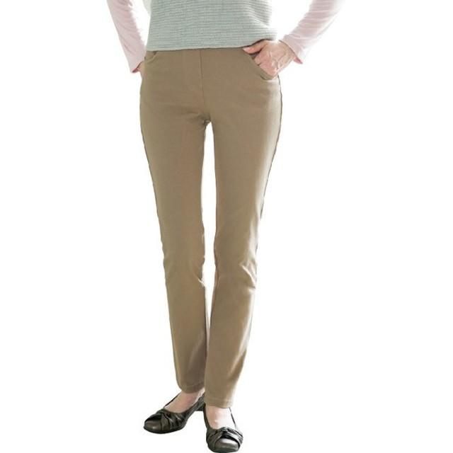 6d76d0dc48ff53 ケアファッション:カットストレッチカラーパンツ(股下67cm) モカ M (婦人 ...