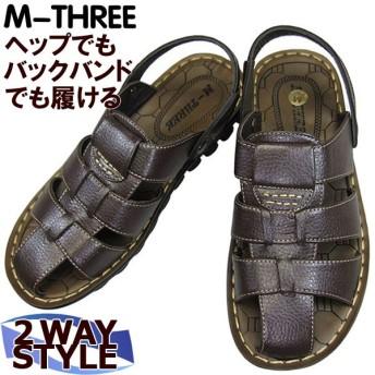 メンズ サンダル M-THREE エムスリー 9016 ブラウン メンズ カジュアル サンダル 2WAYサンダル
