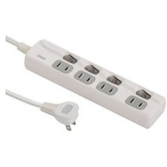 オーム電機(OHM) LED個別スイッチ付き 節電タップ(2ピン式・4個口・2.5m) HS-T1946W
