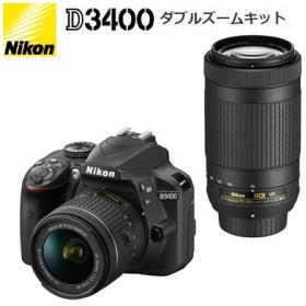 【即納】ニコン デジタル一眼レフカメラ D3400 ダブルズームキット D3400-WZ-BK ブラック