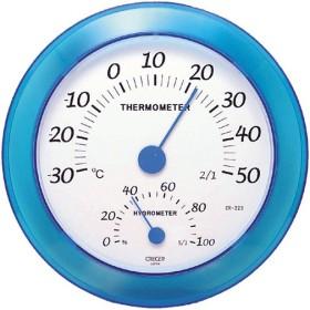 クレセル 温度計・湿度計 壁掛け用 CR-223B ブルー 代引不可