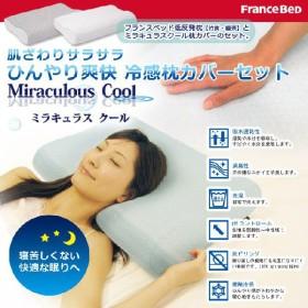 フランスベッド ミラキュラスクール 枕カバーセット 低反発 ひんやり 冷感