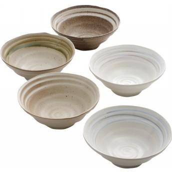 和風ラーメン鉢5個組 和陶器 和陶鉢 中鉢セット 872301 代引不可