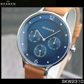 SKAGEN スカーゲン SKW2310 海外モデル ANITA アニタ マルチファンクション レディース 腕時計 青 ネイビー 茶 ブラウン 革バンド レザー