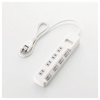 エレコム 省エネタップ 個別スイッチ 4個口 1m(ホワイト) T-E5A-2410WH 返品種別A