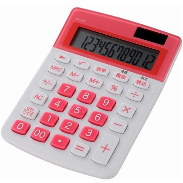 OHM 電卓 12桁 KCL-210-P ピンク 代引不可