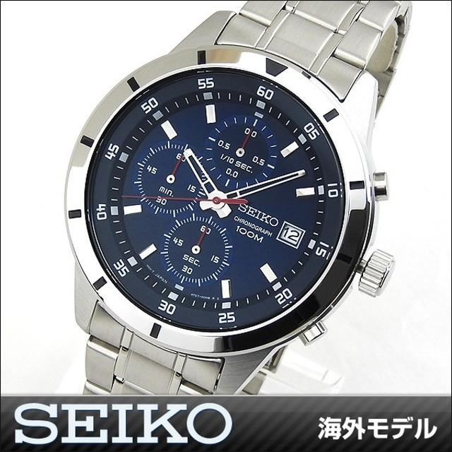 64516e7b53 SEIKO セイコー SKS559P1 海外モデル アナログ メンズ 腕時計 ウォッチ 青 ブルー 銀 シルバー メタル バンド