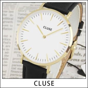 CLUSE クルース CL18406 38mm 海外モデル La Boheme ラ・ボエーム レディース 腕時計 ブラック ホワイト ゴールド 革バンド レザー